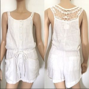 Free People Crochet Top Romper White Small